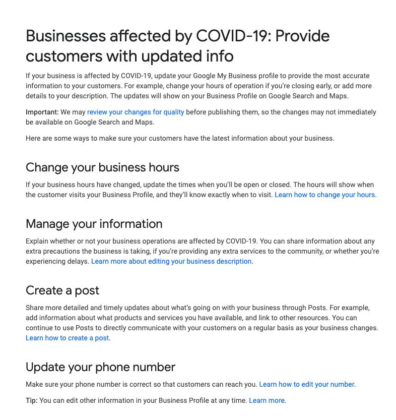 google coronavirus guidelines